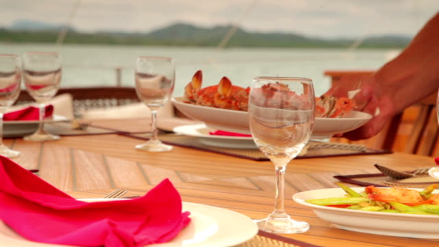 Table Set for Lunch. Seafood. video