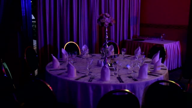 table set up for wedding reception - prom stock videos and b-roll footage