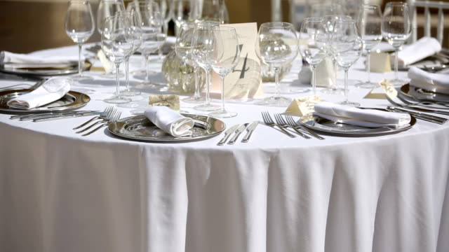 Table setting in a restaurant video