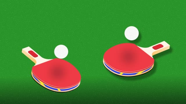Table Tennis Animation Background. Ping pong ball bounces from racket. Digitally generated background animation with title space. video