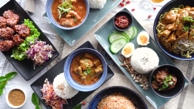 Table top view of Malaysian food.