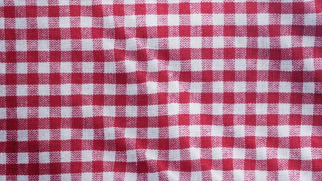 tablecloth, picnic gingham is pan camera movement. close up macro shot checkered claret red fabric cloth background. - a quadri video stock e b–roll