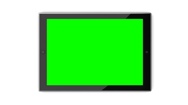 Tablet Computer with Green Screen on White Background video