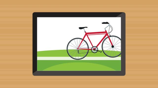 tablet device with bicycle animation video