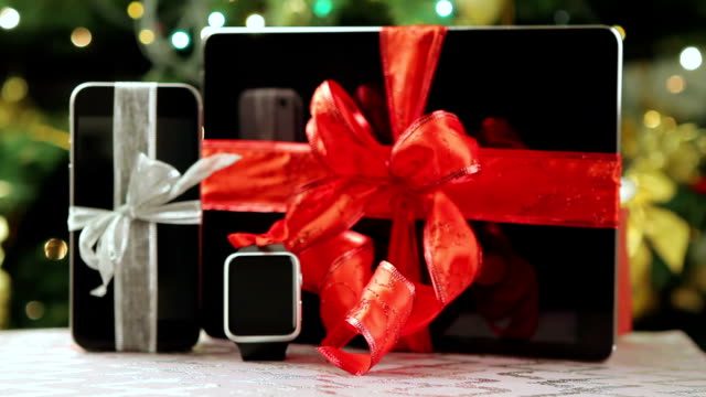 Tablet pc, smartphone and smartwatch for Christmas video
