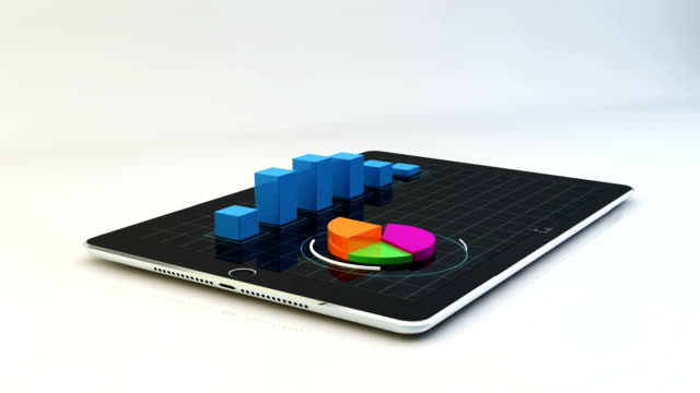 Tablet with 3D financial charts. video