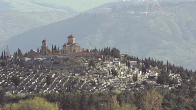 Tabori Monastery in Tbilisi, Transfiguration Church, rear view. At the bottom of the cemetery