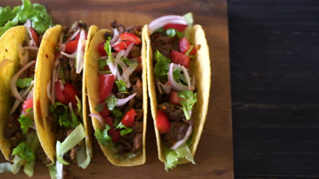 tacos with meat and vegetables - Mexican food