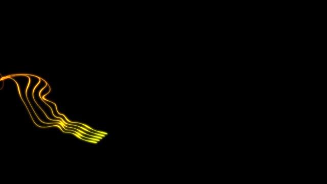 黒い背景に明るい粒子の尾。 ビデオ