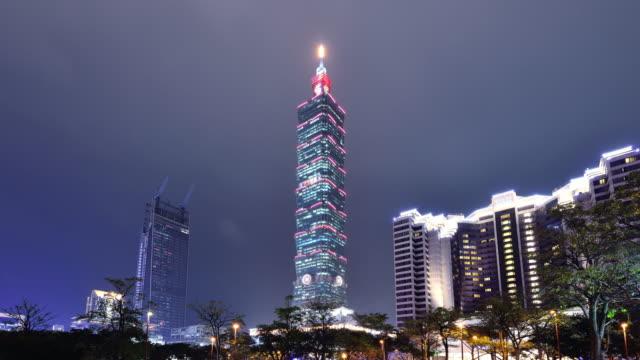 Taipei Cityscape and Taipei Tower at Night video