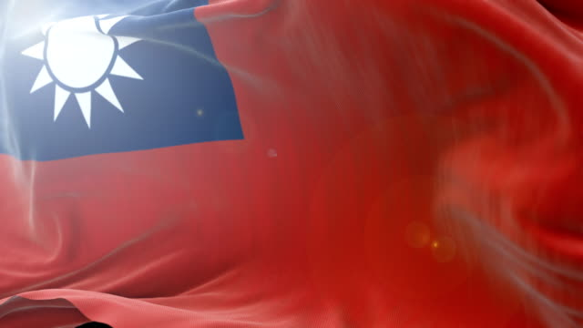 taiwan flag slow waving background. 4k close up flag waving. seamless loop - politica e governo video stock e b–roll