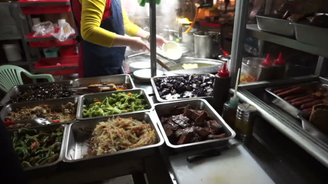 Taiwanese Chinese vegetarian food stall. Many dishes resembling meat and other kind of food