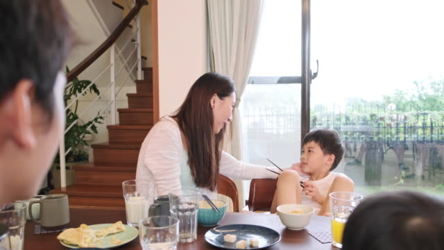 Taiwanese Mother and Son at Breakfast