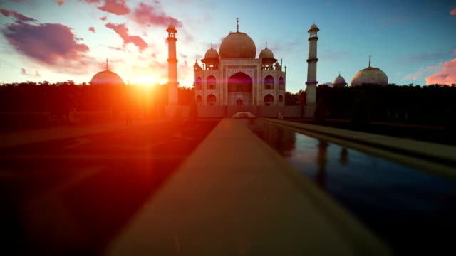 Taj Mahal beautiful sunset, panning video