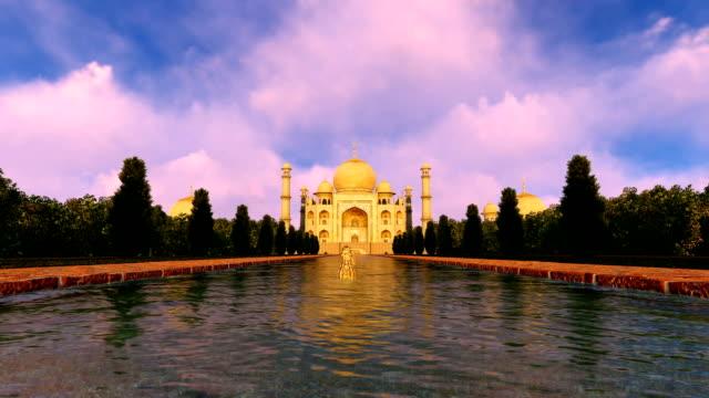 taj mahal india zoom in - obiekt światowego dziedzictwa unesco filmów i materiałów b-roll