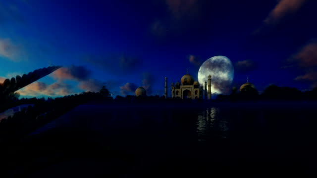Taj Mahal, view from Yamuna River, aircraft passing against beautiful moon video