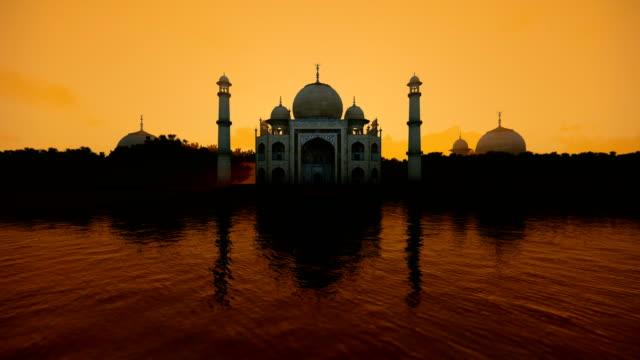 Taj Mahal water reflection during a hot sunny day, 4K Taj Mahal water reflection during a hot sunny day, 4K indian culture stock videos & royalty-free footage