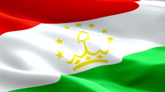 tajikistan waving flag. national 3d tajik flag waving. sign of tajikistan seamless loop animation. tajik flag hd resolution background. tajikistan flag closeup 1080p full hd video for presentation - kiss filmów i materiałów b-roll
