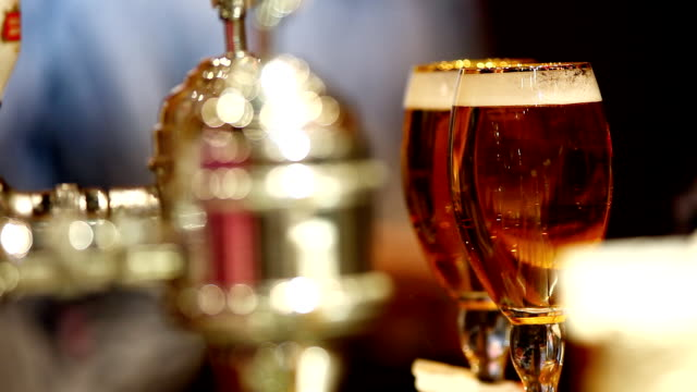 take glass with beer from bar video