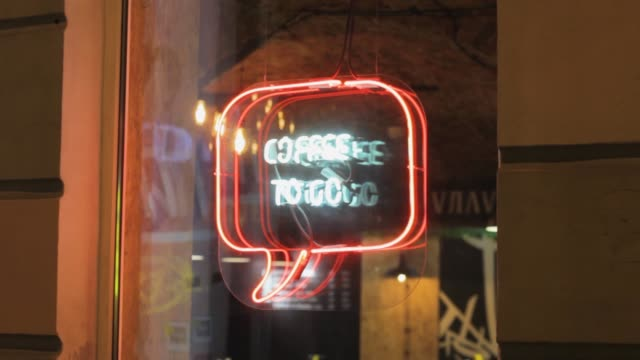 take-away coffee neon sign. illuminated billboard icon