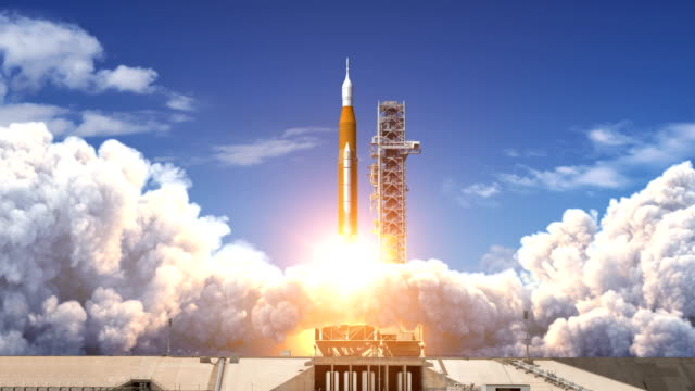Takeoff Of Space Launch System. Slow Motion. Full 3D Animation. 4K.