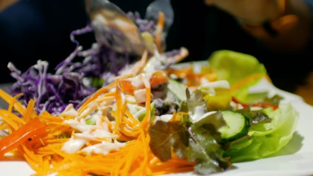 Taking a Salad for dieting , healthy food concept video