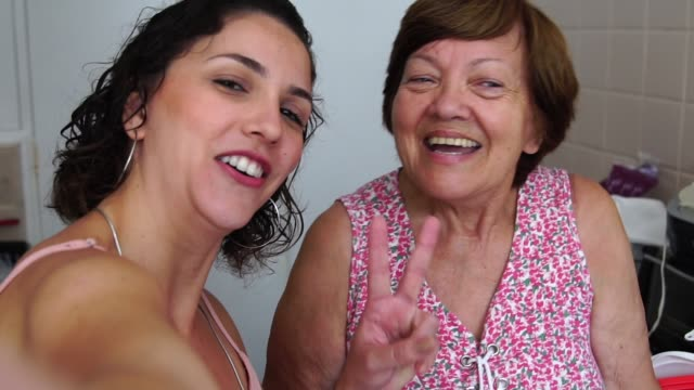 Taking a selfie with the Grandmother I Love You candid stock videos & royalty-free footage