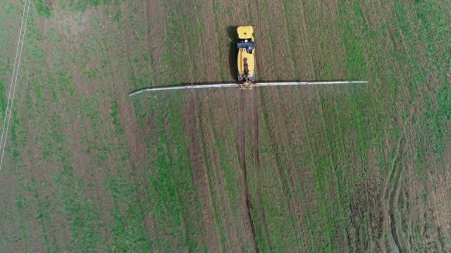vídeos de stock e filmes b-roll de taking care of the crop. aerial view of a tractor fertilizing a cultivated agricultural field. - independência