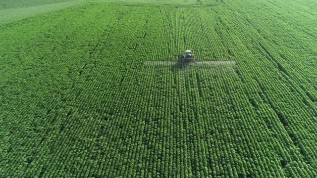Taking care of the Crop. Aerial view of a Tractor fertilizing a cultivated agricultural field. Tracking shot. Drone point of view of a Tractor spraying on a cultivated field. Small Business. cultivated land stock videos & royalty-free footage