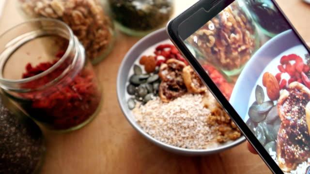 Taking photos of a healcht breakfast video