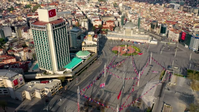 Taksim Square Aerial view with drone, No People, Covid-19 Pandemic Curfew Istiklal Street.