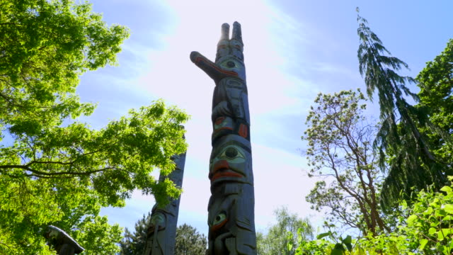 Tall First Nations Totem Poles, Wide Angle Sunlight, Indian Art
