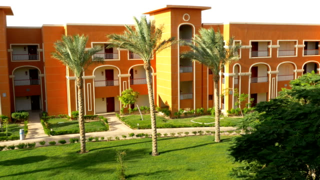 Tall palm trees near orange building. FullHD video