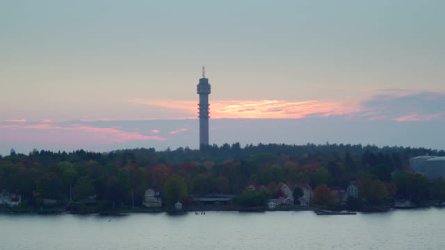 A tall tower on the island city in Stockholm Sweden