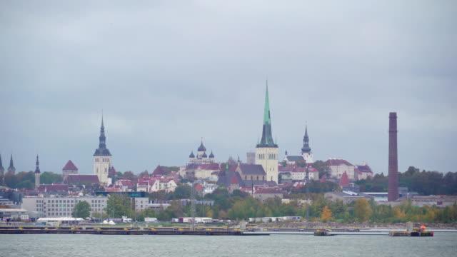 stockvideo's en b-roll-footage met hoge torens van de gebouwen in de stad van tallinn-estland - estland