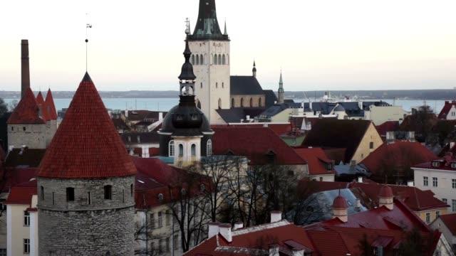 Tallinn, Estonia old city panorama video