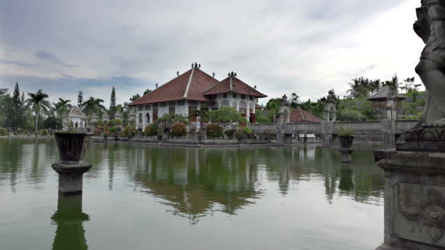 Taman Ujung water palace, which is situated near the ocean and decorated by beautiful tropical garden, Bali, Indonesia video