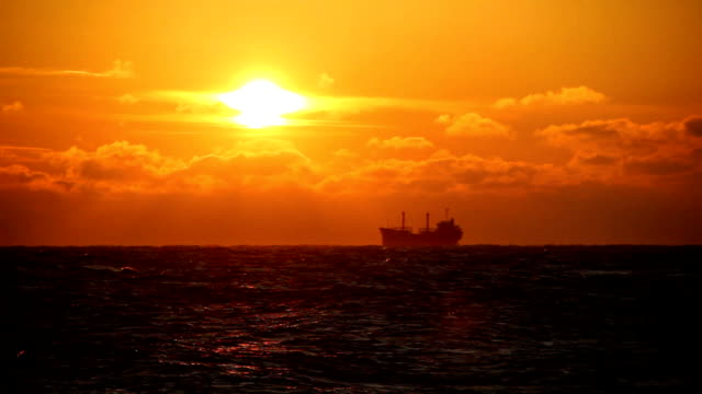 tanker at sunset video