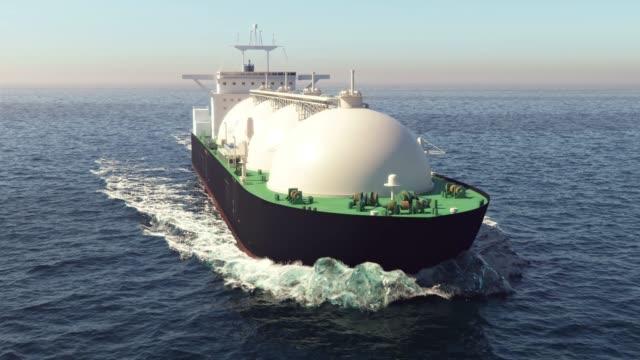 lng tanker floating in the ocean - nave cisterna video stock e b–roll
