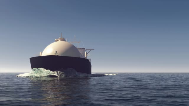 lng tanker in the ocean - natante industriale video stock e b–roll