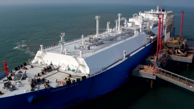LNG Tanker Terminal LNG Tanker Terminal industrial ship stock videos & royalty-free footage