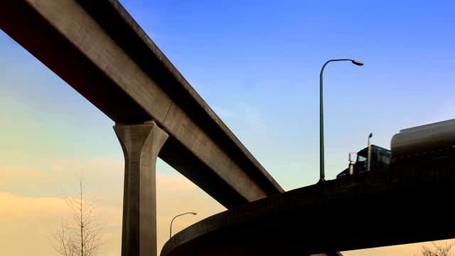 Tanker Truck Drives Overhead On Morning Highway video