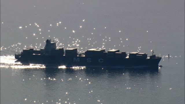 Tankers In Chesapeake Bay  - Aerial View - Virginia,  City of Virginia Beach,  United States video
