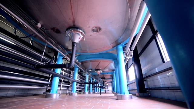 Tanks, storages at a pharmacy factory Huge Modern pharmacy storage system at a chemical plant. HD. purified water stock videos & royalty-free footage