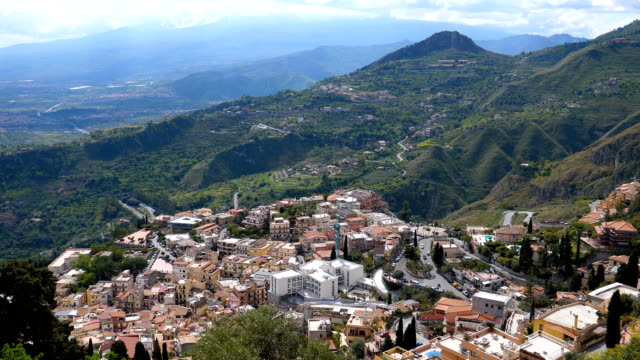 Bидео Taormina southern side and Etna mount