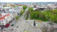 istock Taras Shevchenko monument at Sumskaya street in Kharkov, aerial view 1317808038