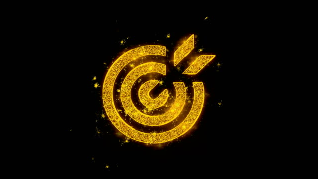 Target Emblem Pictogram Icon Sparks Particles on Black Background.