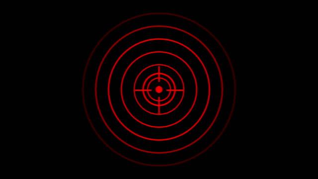 Zielsymbol mit Funkwelle, Kreisradar-Schnittstellensignal mit konzentrischen Ringen bewegen. Animation von Radiowelle, Radar oder Sonar. – Video