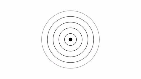 zielsymbol mit funkwelle, kreisradar-schnittstellensignal mit konzentrischen ringen bewegen. animation von radiowelle, radar oder sonar. - computergrafiken stock-videos und b-roll-filmmaterial