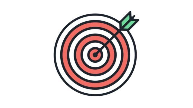 목표 시장 분석 선 아이콘 애니메이션 알파 - 정확성 스톡 비디오 및 b-롤 화면